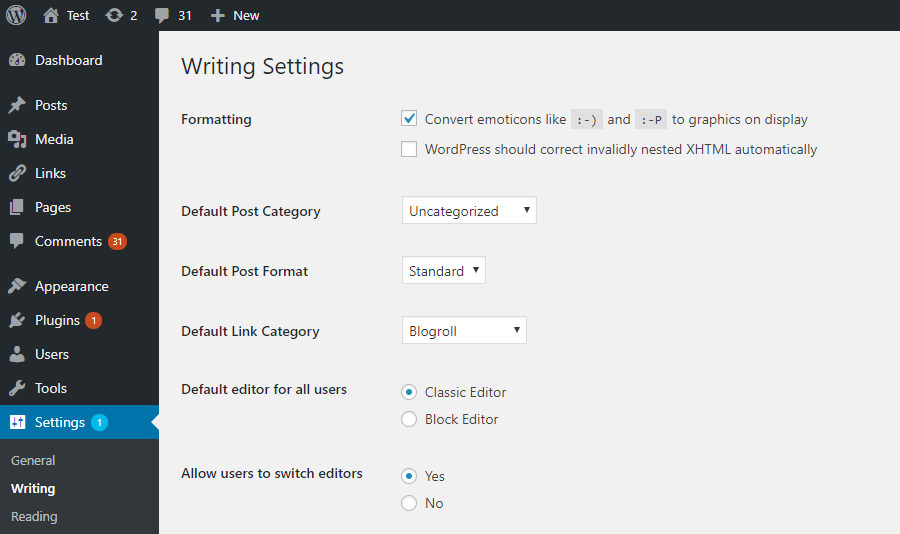 wordpress 5 Settings